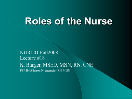 Roles of the Nurse - Suffolk County Community