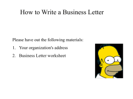 PPT- BUSINESS LETTER - Freshmen Happenings in Ms.