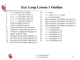 CS1313 for Loop Lesson 1