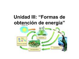 """Unidad III: """"Formas de obtención de energía"""""""