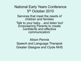 National Early Years Conference 5th October 2010