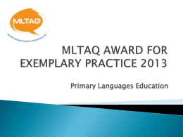 MLTAQ AWARD FOR EXEMPLARY PRACTICE 2013