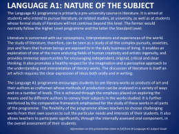LANGUAGE A1: NATURE OF THE SUBJECT The Language A1