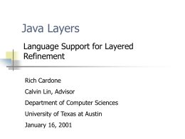 Java Layers - Department of Computer Science