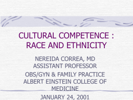 RACE AND ETHNICITY - Albert Einstein College of
