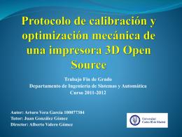 Protocolo de calibración y optimización mecánica