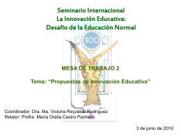 SEMINARIO INTERNACIONAL LA INNOVACIÓN EDUCATIVA: