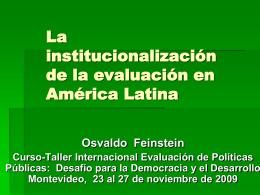 La Institucionalización de la Evaluación en