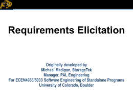 Requirements Elicitation - University of Colorado