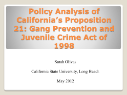 Policy Analysis of California's Proposition 21: