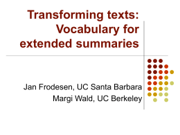 Transforming texts: Vocabulary for extended