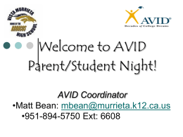 Welcome to AVID Parent/Student Night!