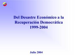 Del desastre economico a la recuperación