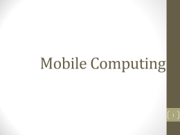 Mobile Computing - University of Tennessee at