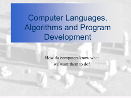 Chapter 4: Computer Languages, Algorithms and