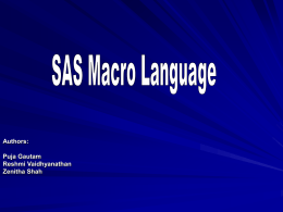 SAS Macro Language - California State University,