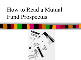 How to Read a Mutual Fund Prospectus -
