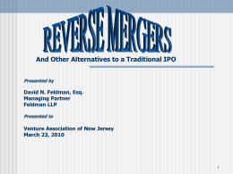 "GOING PUBLIC THROUGH A ""REVERSE MERGER"" THE DEAD"
