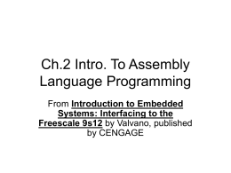 Ch.2 Intro. To Assembly Language Programming