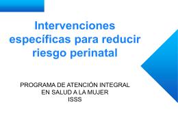 Intervenciones específicas para reducir riesgo