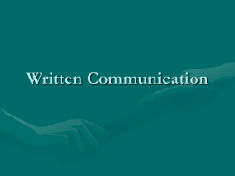 Written Communication - University of Texas at