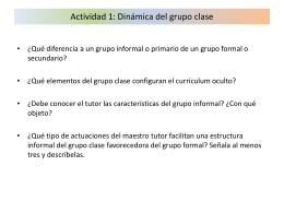 Actividad 1: Dinámica del grupo clase