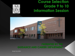GRADE 10 & 11 INFORMATION NIGHT
