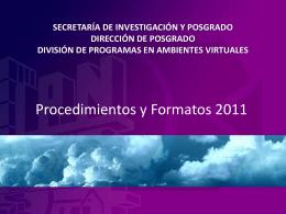 Secretaría de Investigación y Posgrado Dirección