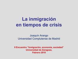 La inmigración y la población inmigrada en España.