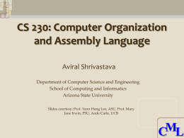 CS 230 Chapter 2 Instructions: Language of the