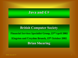 Java and C# - BCS - The Chartered Institute for IT