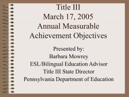 Title III, Part A Language Instruction for Limited