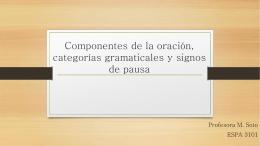 Componentes de la oración, categorías gramaticales