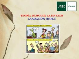 TEORÍA BÁSICA DE LA SINTAXIS LA ORACIÓN SIMPLE