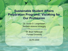 Integrating Sustainability into the Student
