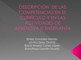 DESCRIPCIÓN DE LAS COMPTENCIAS EN EL CURRÍCULO Y