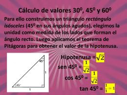 Cálculo de valores 300, 450 y 600