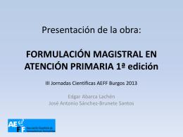 Presentación de la obra: FORMULACIÓN MAGISTRAL EN