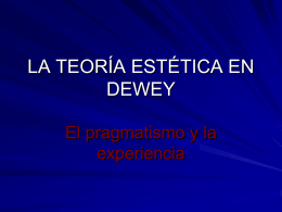 LA TEORÍA ESTÉTICA EN DEWEY - Single Sign