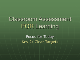 Classroom Assessment for Learning