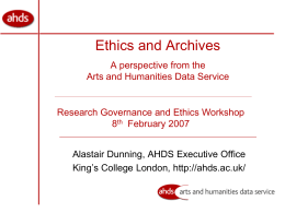 Arts and Humanities Data Service – An Introduction