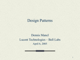 Design Patterns - Department of Computer Science •