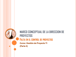 MARCO CONCEPTUAL DE LA DIRECCION DE PROYECTOS