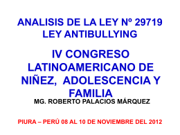ANALISIS DE LA LEY Nº 29719 LEY ANTIBULLYING