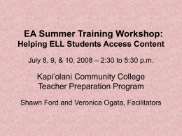 EA in ESL Teacher Training Workshops June 4, 6, &