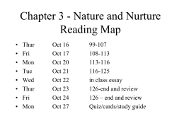 Chapter 3 - Nature and Nurture Reading Map -
