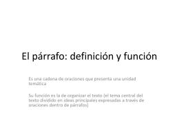 El párrafo: función