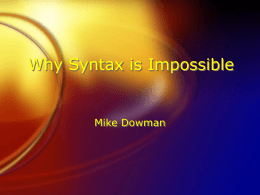 どうして統語論は不可能であるのか