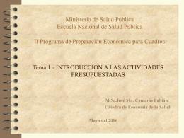 Introducción a las actividades presupuestadas -