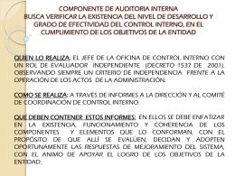 COMPONENTE DE AUDITORIA INTERNA BUSCA VERIFICAR LA